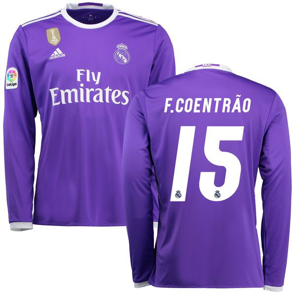 Fabio Coentrao Real Madrid adidas 2016/17 Away World Cup Champions Patch Replica Long Sleeve Jersey - Purple - $124.99