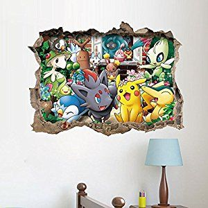 I seriously love how there are flowers all around!   #vcmblog #amazon #affiliate #christmas #kids #gift #ideas #pokemon #girl #present #santa   Amazon.com: TopMall Pokemon Go Wall Sticker Cute 3D Pikachu Decals For Children Room Decor (Multi): Home & Kitchen