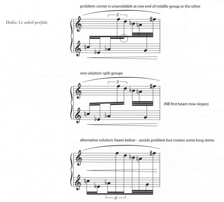 Avoid corners when splitting beamed groups across staves - see example for solutions #booseyfact