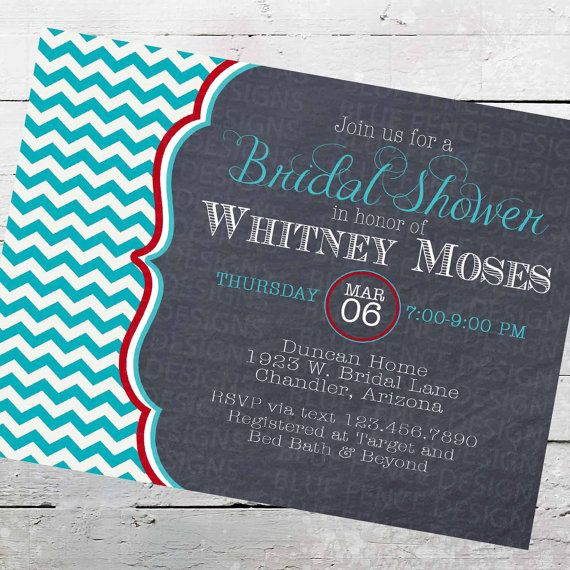 chalkboard chevron bridal shower invitations, turquoise, red on Etsy, ฿416.67