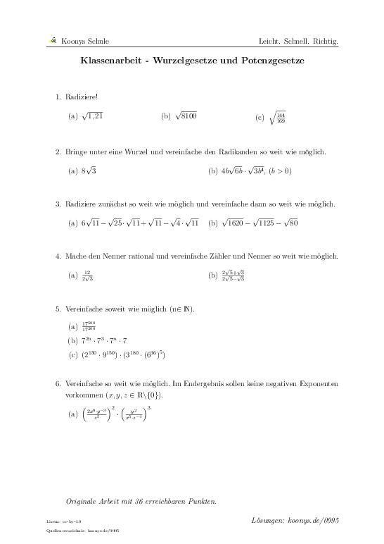 Klassenarbeit - Wurzelgesetze und Potenzgesetze   Aufgaben mit Lösungen und Videoerklärungen   #0995 #Wurzeln #Potenzen #vereinfachen #rational #Nenner #Optimierungsproblem #Parabeln #K.I.Z. #Imbiss Bronko