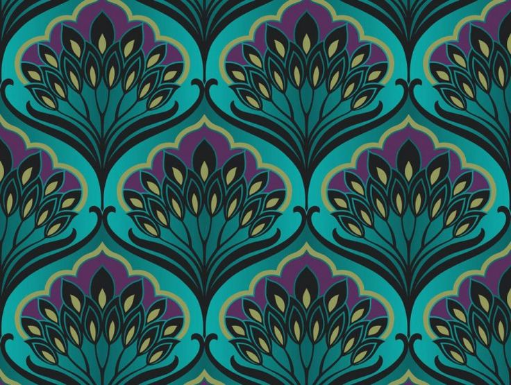 Pavonis Peacock Wallpaper - An elegant ogee motif inspired by the glamour of the twenties and the flamboyant tail feathers of the peacock. A contemporary twist is given using iridescent inks, vignettes and the clever use of unusual colour combinations (ashadewilder)
