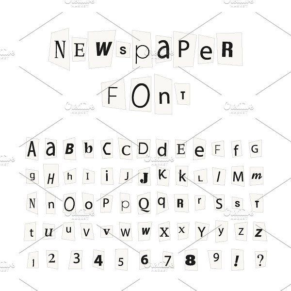 Black Newspaper Letters Font Lettering Fonts Newspaper Letters Alphabet Signs
