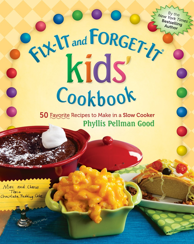 "This image is designed for parents, it indicated that it is a Kid's cookbook. The colorful image of food would catch the kid's attention to try them.   The slogan ""Fix it and Forget it"" suggest not only the taste of the food but the good and bad memories as well. The number of recipes is suggest and the word favorite is underlined to catch the curiosity of parents to find out what excatly are they."