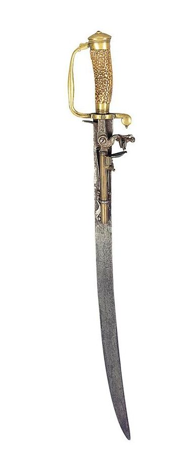 A combined sword and flintlock pistol originating from Germany, late 18th or early 19th century.