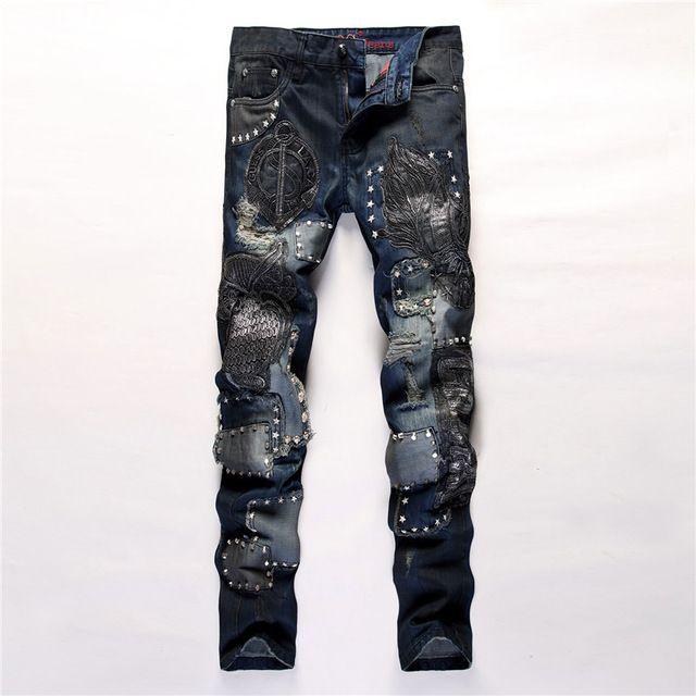 ブランドの新しいデザインメンズファッションフクロウ刺繍パッチジーンズスタイリッシュスリムストレートスターリベットクラブナイトジーンズズボン# LS809