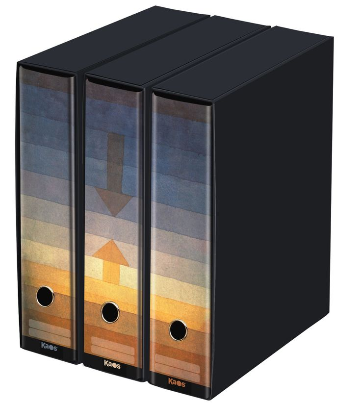 KAOS Lever Arch Files 2ring Binders with slipcase, Spine 8 cm, 3 pcs Set  - SEPARATION IN THE EVENING, PAUL KLEE - 3 pcs Set Dimensions: 26.8x35x29 cm