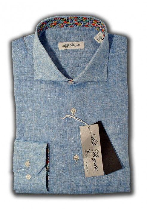 Camicia Uomo 100% Lino Azzurra con contrasti fantasia Slim Fit Collo Francese