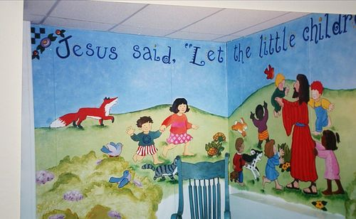 17 best images about sunday school room ideas on pinterest for Church nursery mural