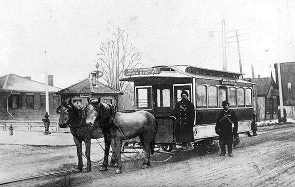 Two-horse car at old North Toronto Station
