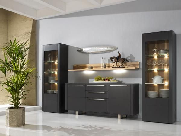 Gwinner Bellano graphite lacquer cabinet composition with sideboard, display cabinets and oak shelves #modernfurniture #interiordesign #home #modernhome #furniture #interiors