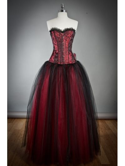 Wine Red Long Gothic Corset Prom Dress. Sorry all of this has been prom dresses! I'm just very excited for mine!