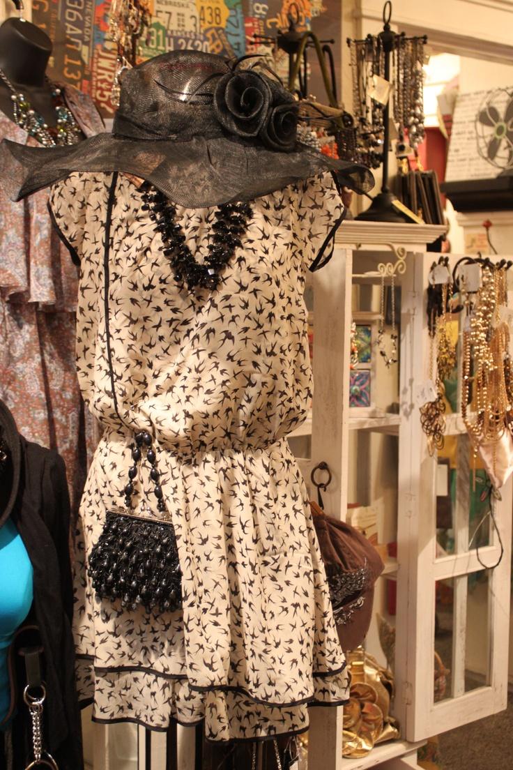 Love this drop waist swallow print dress!     http://www.facebook.com/CherryLaneBoutique