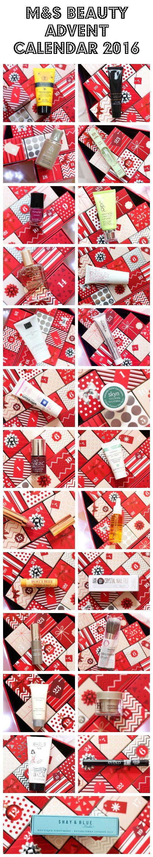M&S Beauty Advent Calendar 2016 content
