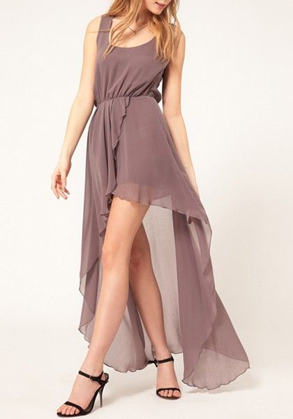 Light Purple Plain Irregular Swallowtail Sleeveless Chiffon Dress