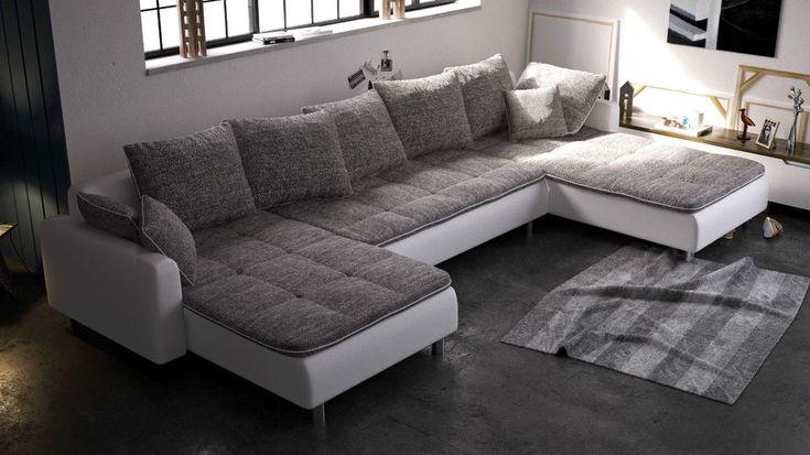 Details zu couchgarnitur couch ecksofa sofagarnitur sofa u for Sofa u form federkern