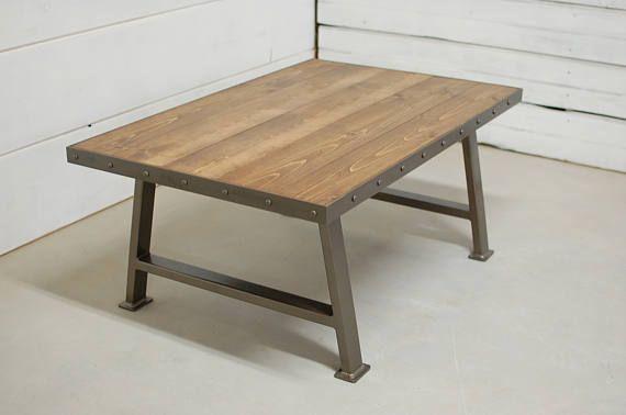 Industrial Wood Coffee Table, Living Room Furniture, Nautical Home Decor, Loft Furniture, Loft Decor, Coffee Table
