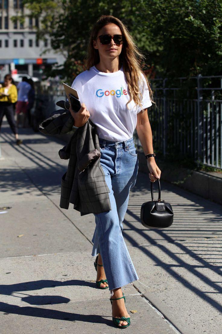 Miroslava Duma in Google t-shirt and Reformation denim. Photo: Angela Datre/Fashionista.