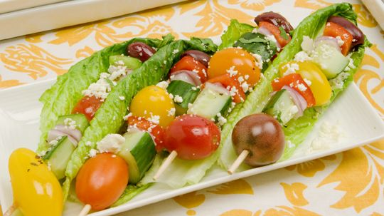 Chunky Greek Salad on a Stick