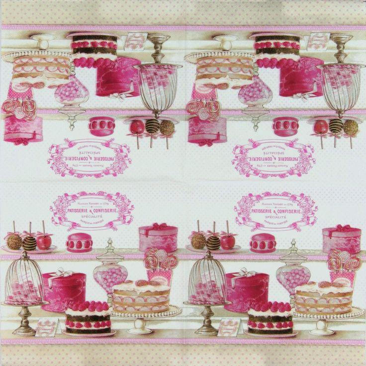 Se trata de un conjunto de 2 pastelería & CONFISERIE premium servilletas de papel, con una magnífica selección de Candy Shop, tortas, galletas y Chocolates, tema de café parisino  El papel añadirá un dulce encanto para tu decoupage con vidrio, madera, vela, reserva de chatarra, mixta y a su proyecto de arte y artesanía.  Las servilletas de papel de tejido de 3 capas de lujo están hechas en Alemania.  La foto del artículo muestra un cuarto del diseño como se dobla la servilleta.  Cada…