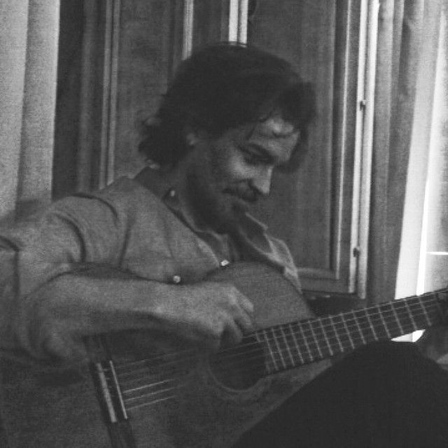 From Howie's instagram: 'Serenade' Santiago Cabrera on a guitar <3 video Howie, not photo! lol