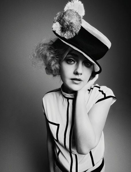 Dakota Fanning by Cedric Buchet wears Armani in the current issue of Wonderland Mag
