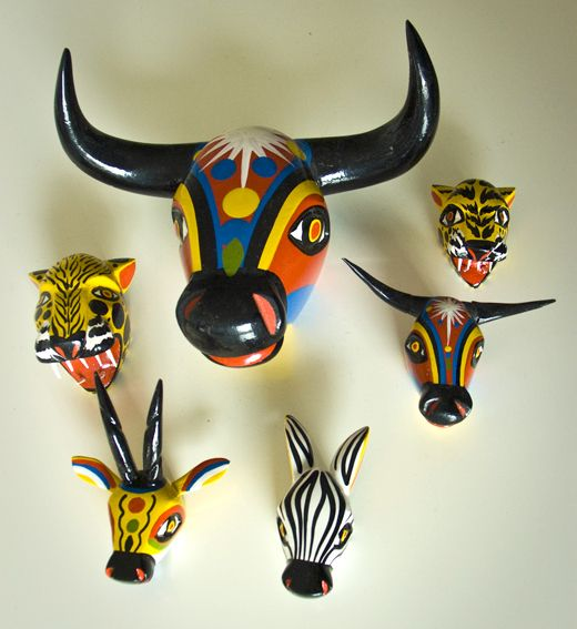 Wooden statues with Barranquilla Carnaval motifs from Colombia