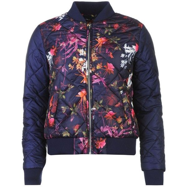 Lee Cooper All Over Print Bomber Jacket Ladies ($39) ❤ liked on Polyvore featuring outerwear, jackets, blue bomber jacket, bomber style jacket, lee cooper, blouson jacket and blue jackets