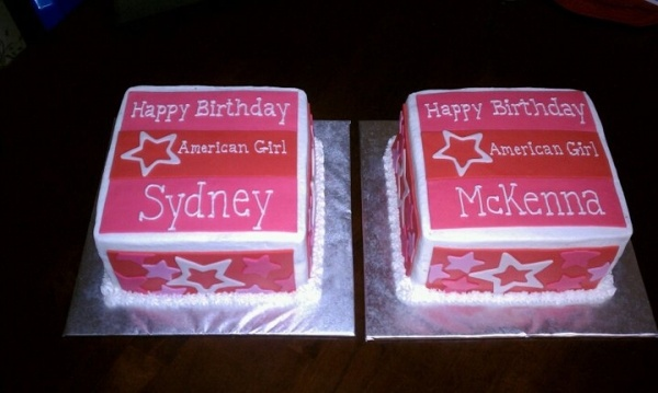 American Girl Doll cakes... i'd say i would go with mckenna party idea for next yr?