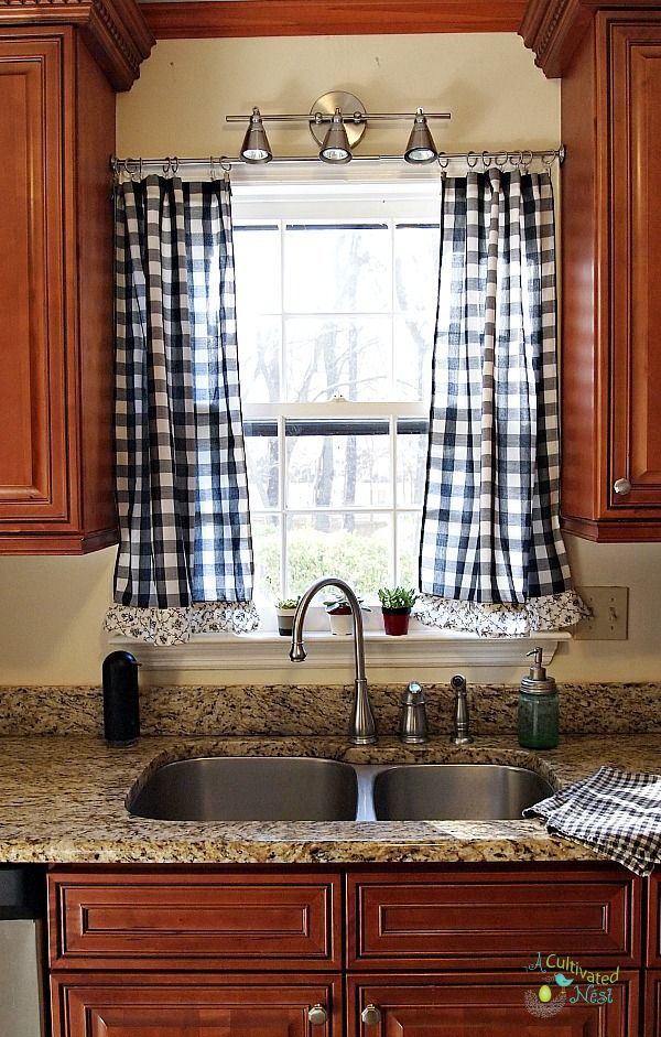 Frugal decorating - you can find something at a good price and put a little work into it and it can become just the perfect thing that you wanted...like these thrifted kitchen curtains!