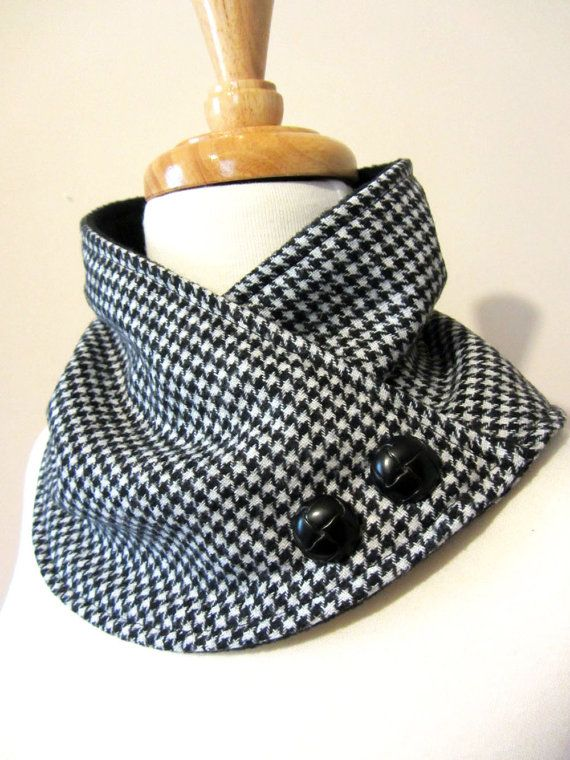 This neck warmer scarf is made with soft black and white houndstooth wool blend fabric.  Adorned with two black buttons.***You may choose the more