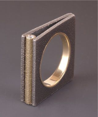 "Ring | Maria Samora.  ""Square collection"".  Sterling silver and 18k gold with diamonds"