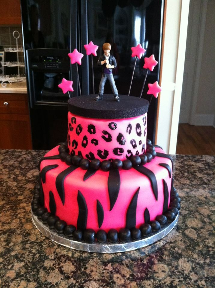 my most recent cake... animal print and j biebs for a 6 year old girl