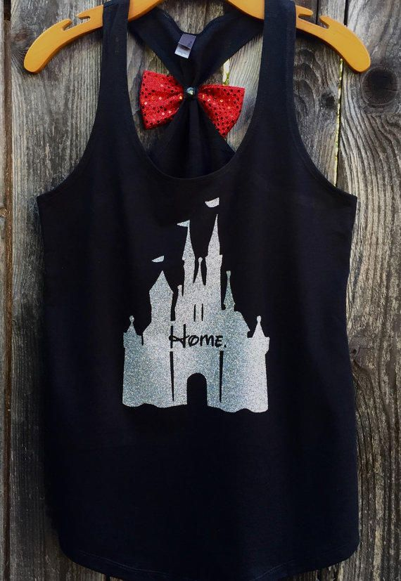 Woman's Disney Castle Home Bow Back Tank Top, Cinderella Castle Shirt, Woman's, Tank Top, Glitter, Sparkle, from 31Blossoms on Etsy.