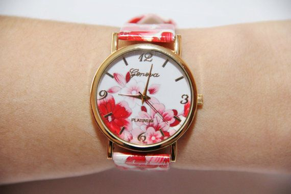 Wristwatch with red flowers ladies watch Floral by ShiningBead