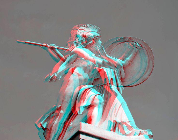 https://flic.kr/p/VbbDMm | STATUE Schloss-Brucke Berlin 3D | anaglyph stereo red/cyan
