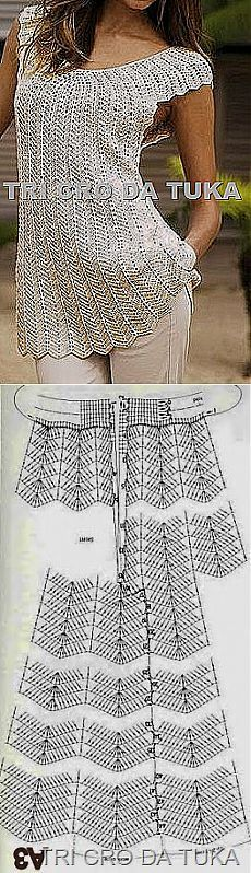 "CROCHET TUNIC WITH PATTERN DIAGRAM (Russian) | Website Link does NOT have additional information and I was unable to locate the information, so what you see is what you get | Original Post Text in Russian=""Оригинальная кофточка."" 