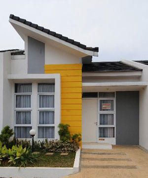Great contemporary facade with bold burst of yellow. Would be fantastic for a beach house.