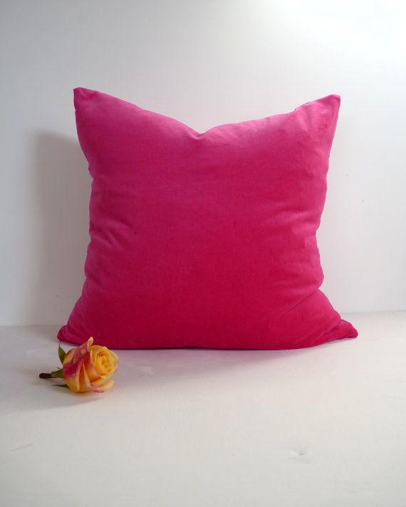cerise pink velvet pillow case // hot pink velvet by LiveLoveSmile
