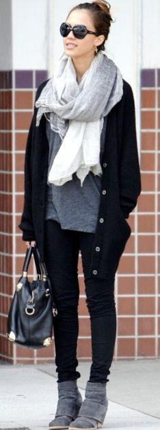 Tons of basics here. Black jeans or leggings with a grey T, black cardigan and grey boots. White scarf.