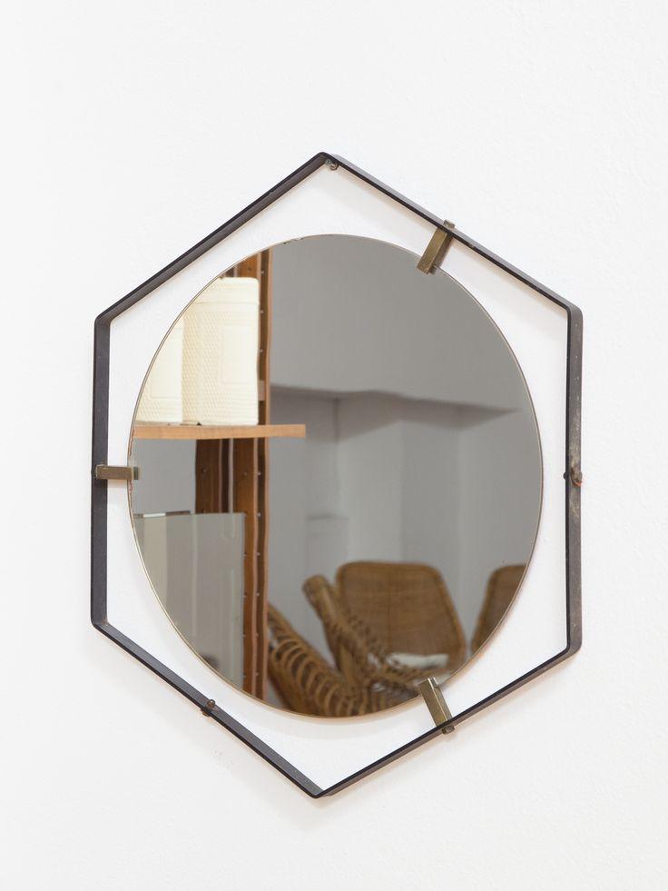 Specchio cornice esagonale in ferro
