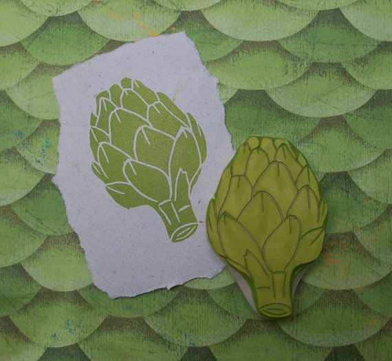 Artichoke Rubber Stamp Hand Carved by EnchantingStamps on Etsy, $14.00