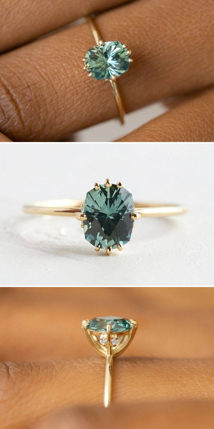 GREEN SAPPHIRE UNVEILED RING Oval Green Montana Sapphire, 14k Yellow Gold Sapphire Engagement Ring