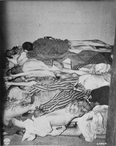 A room filled with corpses at Flossenbuerg concentration camp. Such a frightening image but important as well. Racism has no place in any society.