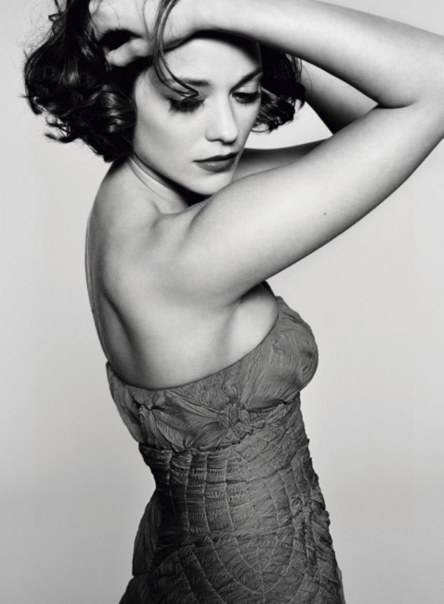 Marion #Cotillard in a black and white portrait