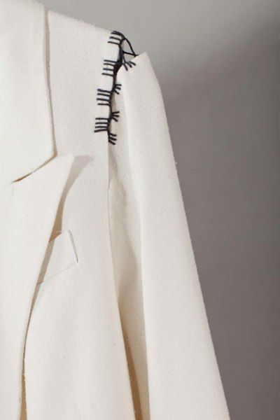 Detached & suspended sleeve detail with contrasting stitching; sewing idea; close up fashion design detail // AE Collection