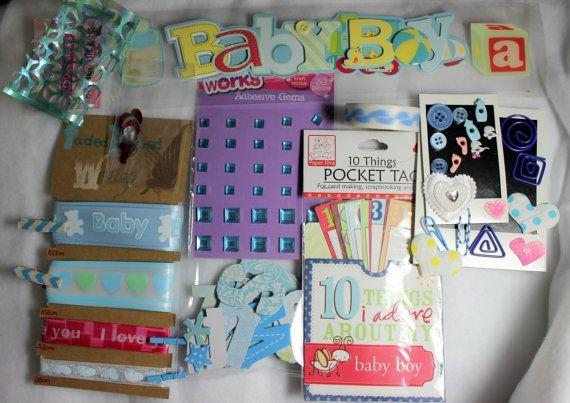 Baby Boy Scrapbooking Kit - Paper Craft Embellishment Kit