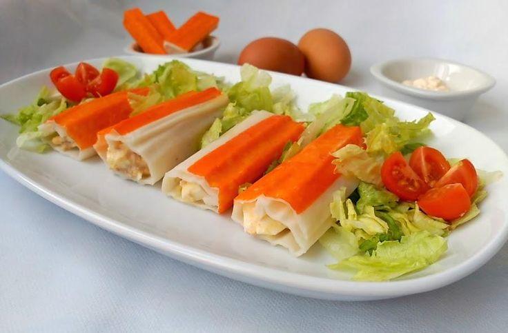 Sigue el paso a paso de esta receta del blog COCINA A BUENAS HORAS para hacer unos canelones fríos rellenos de atún y huevo cocido.