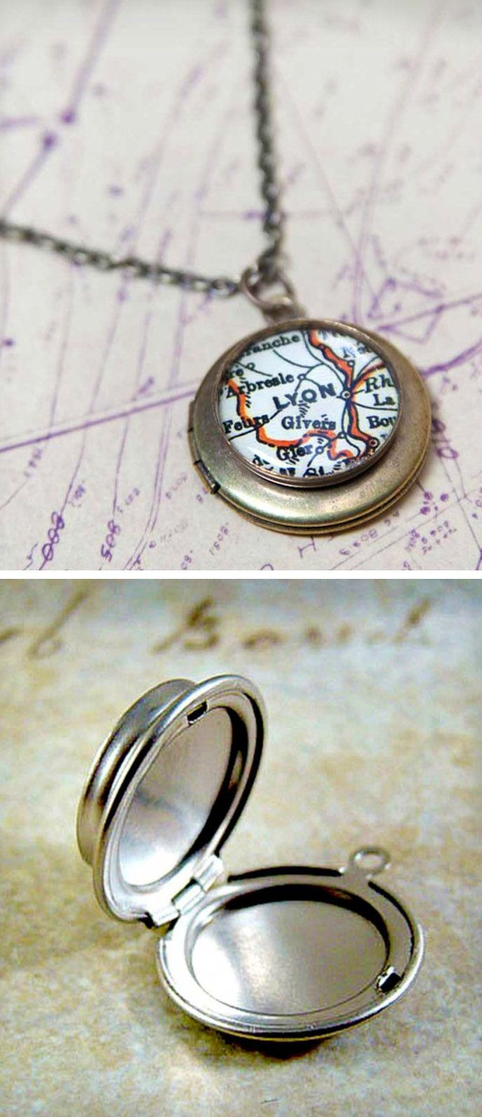 Custom Vintage Map Locket Necklace ♥ {Cool Idea to add where you born or got married}