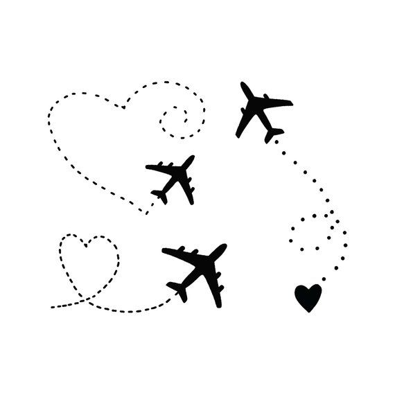 Airplane with black heart set tattoo for the one who obessed with travel. A touching set is collected from different airplanes. He talks about the dre…